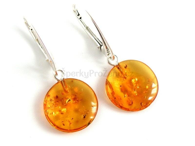 Náušnice jantar kulaté - Jantarové naušnice - Šperky pro ženy 1ff7c6af2d0